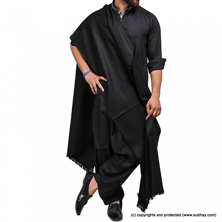 Black Color Pure Woolen Light Weight Shawl For Him SHL-168-3