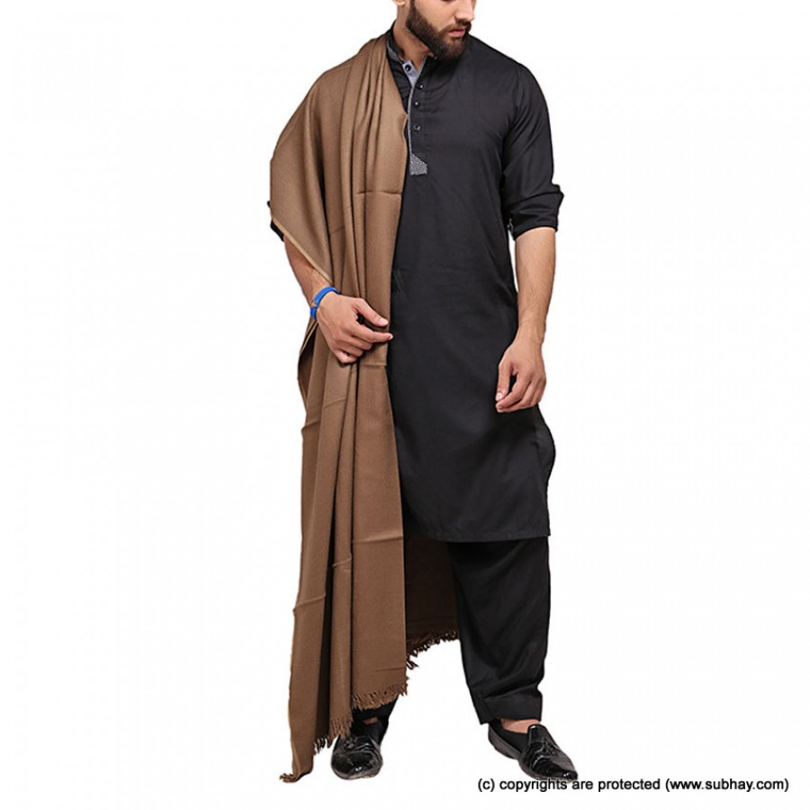 Brown Color Pure Woolen Light Weight Shawl For Him SHL-168-4