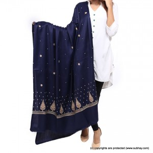 Navy Blue Pan Palla Embriored Shawl SHL-170-1