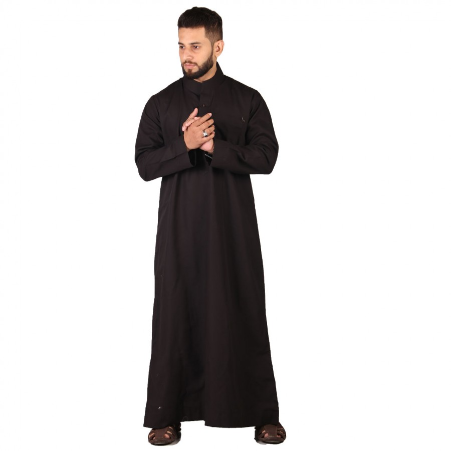 Comfortable Black Cotton Thobe / Jubba For Men ZE-001