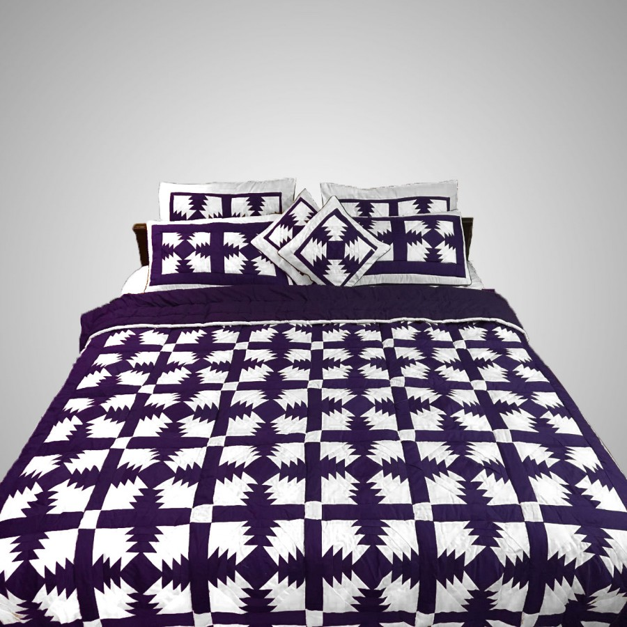 Pure Cotton Purple & White Handmade Sindhi Tukri Ralli / Rally / Appliqued Bedset RBS-60