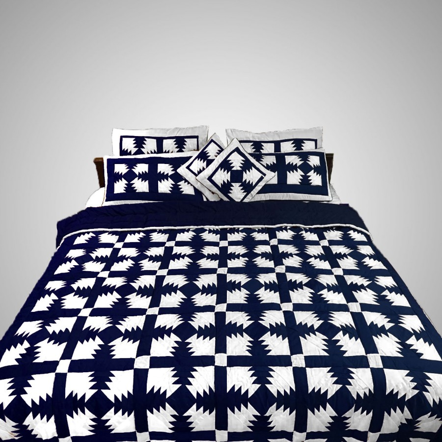 Pure Cotton Navy Blue & White Handmade Sindhi Tukri Ralli / Rally / Appliqued Bedset RBS-58