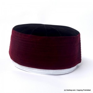 Black & Red Velvet AKA Junaid Jamshed [Cloth Contrasting] Prayer Cap / Kufi CHM-75