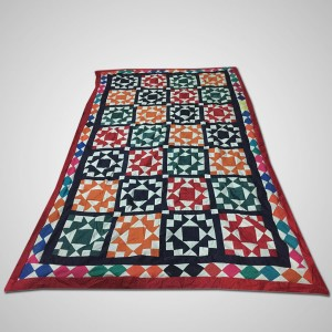 Multi Color Single Bed / Charpai Chadder Handmade Sindhi Tukri Ralli / Rally / Appliqued Bedset RBS-49