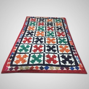 Multi Color Single Bed / Charpai Chadder Handmade Sindhi Tukri Ralli / Rally / Appliqued Bedset RBS-54