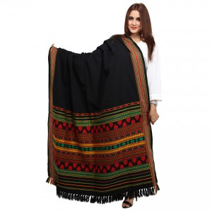 Black, Red & Green Color Sindhi Tharri / Embroidered Shawl SHL-143