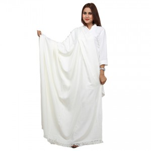 Acro Woolen White  Solid Color Kashmiri Shawl For Her SHL-148