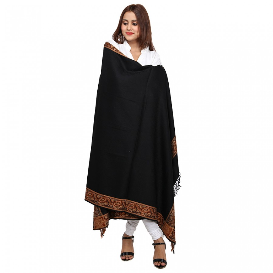 Acro Woolen Black  Solid Color Kashmiri 4 Border Shawl For Her SHL-147