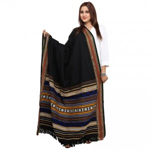 Black,Blue Color Sindhi Tharri / Embroidered Shawl SHL-144
