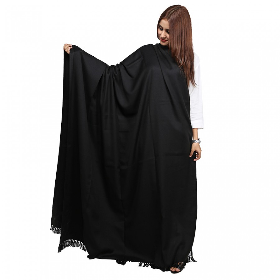 Acro Woolen Black  Solid Color Kashmiri Shawl For Her SHL-146