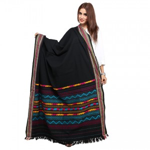 Black, Sky-Blue Color Sindhi Tharri / Embroidered Shawl SHL-145