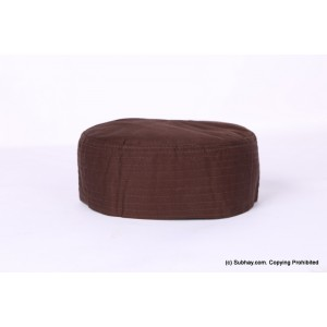 Brown Cotton Woven AKA Junaid Jamshed [Cloth Contrasting] Prayer Cap / Kufi CHM-63-2