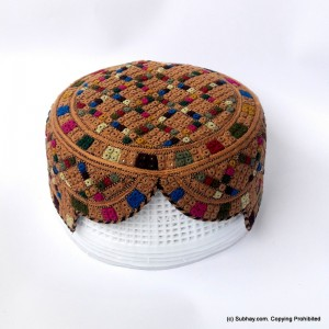 Brown & Multi Color Saeedabad Yaqoobi Zardari Cap or Topi MKC-680