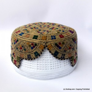 Brown & Multi Color Saeedabad Yaqoobi Zardari Cap or Topi MKC-678