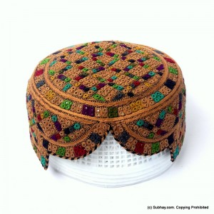 Brown & Multi Color Saeedabad Yaqoobi Zardari Cap or Topi MKC-679