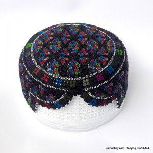 Black & Multi Color Saeedabad Yaqoobi Zardari Cap or Topi MKC-682