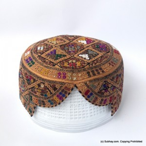 Brown & Multi Color Saeedabad Yaqoobi Zardari Cap or Topi MKC-684