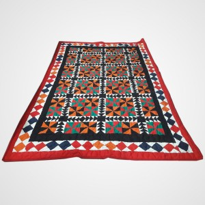 Multi Color Single Bed / Charpai Chadder Handmade Sindhi Tukri Ralli / Rally / Appliqued Bedset RBS-48 [ Quilted ]