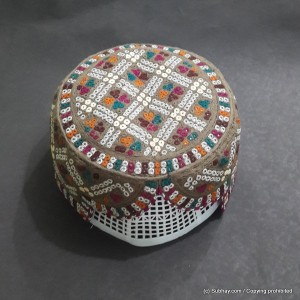 Brown & Multi Color Saeedabad Yaqoobi Zardari Cap or Topi MKC-628
