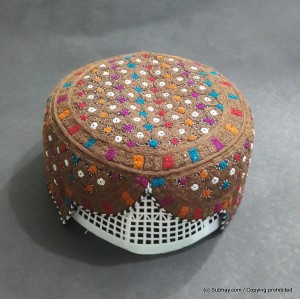 Brown & Multi Color Saeedabad Yaqoobi Zardari Cap or Topi MKC-629