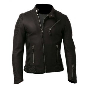 Slimfit Quilted Black Leather Jacket 14 Ot CP-023