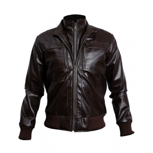 Brown Bomber Leather Jacket Custom Made 3 Ot CP-026