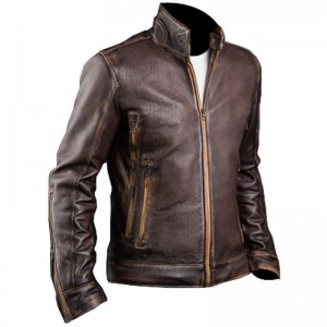Taxan Brown Distressed Jacket Real Leather 32 Ot CP-025