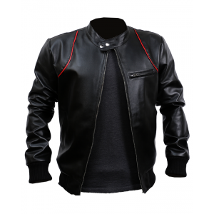 Old School Black And Red Leather Jacket Custom Made 7 Ot CP-027