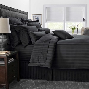 Pure Stripe Cotton Sateen Hotel Black Solid Color BedSets [All Sizes] CSB-123