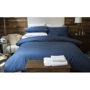 Pure Stripe Cotton Sateen Hotel Blue Solid Color BedSets [All Sizes] CSB-124