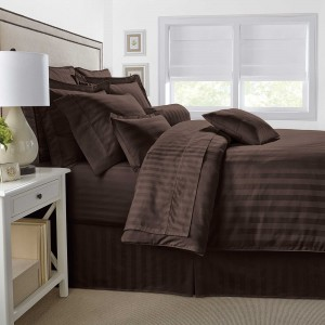 Pure Stripe Cotton Sateen Hotel Brown Solid Color BedSets [All Sizes] CSB-125