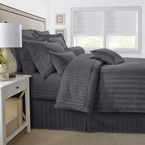 Pure Stripe Cotton Sateen Hotel Dark Gray Solid Color BedSets [All Sizes] CSB-126