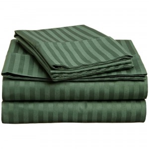 Pure Stripe Cotton Sateen Hotel Deep Green Solid Color BedSets [All Sizes] CSB-134