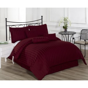 Pure Stripe Cotton Sateen Hotel Maroon Solid Color BedSets [All Sizes] CSB-127