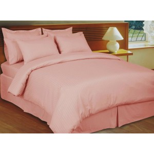Pure Stripe Cotton Sateen Hotel Pink Solid Color BedSets [All Sizes] CSB-128