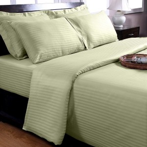 Pure Stripe Cotton Sateen Hotel Sage Solid Color BedSets [All Sizes] CSB-129