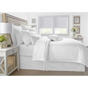 Pure Stripe Cotton Sateen Hotel White Solid Color BedSets [All Sizes] CSB-132