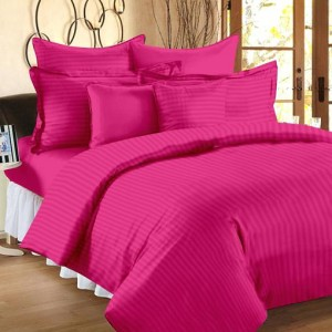 Pure Stripe Cotton Sateen Hotel Hot Pink Solid Color BedSets [All Sizes] CSB-133