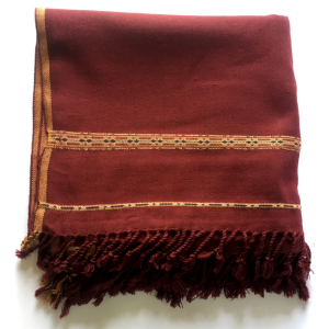 Maroon Pure Acro-Woolen Dhussa Shawl For Man SHL-030-8