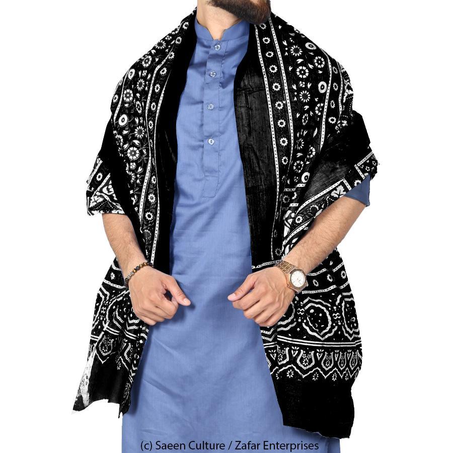 Black Sindhi Ajrak Chadder / Shawl  SA-01-06