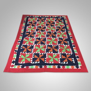 Multi Color Single Bed / Charpai Chadder Handmade Sindhi Tukri Ralli / Rally / Appliqued Bedset RBS-35