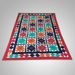 Multi Color Single Bed / Charpai Chadder Handmade Sindhi Tukri Ralli / Rally / Appliqued Bedset RBS-34