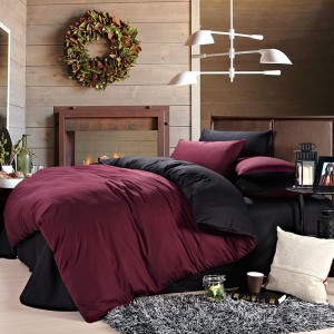 Pure Damask 300 TC Egyptian Cotton Sateen Solid Color BedSets [All Sizes] CSB-107 Maroon & Black