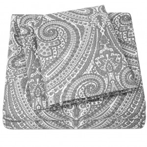 Grey Paisley Printed Pure Cotton Sateen 350+ TC BedSets [All Sizes] CSB-108