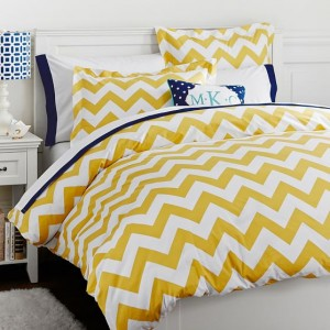 Yellow Pure Cotton Plain Zig Zac / Chevron Printed Kids Bedsheet CKB-06-2