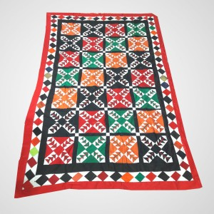 Multi Color Single Bed / Charpai Chadder Handmade Sindhi Tukri Ralli / Rally / Appliqued Bedset RBS-45