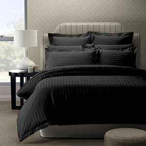 Pure Stripe Cotton Sateen Hotel Black Solid Color BedSets [All Sizes] CSB-065