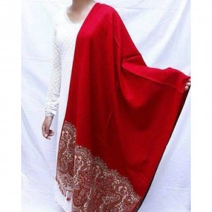 Red Color Indian Self Embroidered Kashmiri Shawl SHL-106