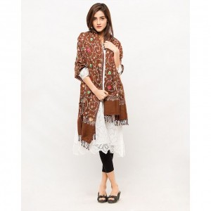 Brown Acrowool Kashmiri / Water Pashmina Embroidered Aari Shawl SHL-138