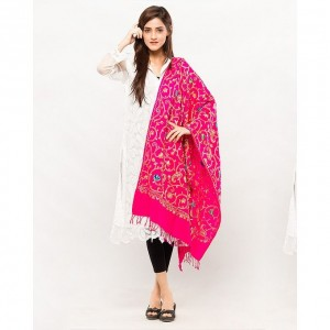 pink Acrowool Kashmiri / Water Pashmina Embroidered Aari Shawl SHL-136